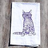 Dish Towel Purple Hipster Cat