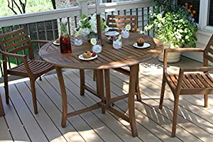 Outdoor Interiors Round Folding Table, 48-Inch, Brown from Outdoor Interiors - DROP SHIP