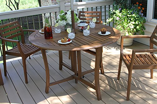 Outdoor Interiors Round Folding Table, 48-Inch, Brown