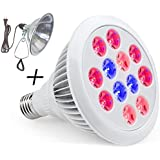LED Grow Light Bulb With FREE Clamp Reflector By ProLedGrow - 12 LEDS In Blue & Red Light - 12W Hydroponics Lights- Full Spectrum E27 Grow Listing System For Indoor Garden, Plants, Vegetables, Flowers