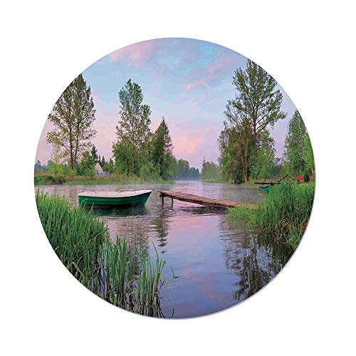 iPrint Polyester Round Tablecloth,Landscape,Rural Landscape Lakeside Boat Trees Grass Clouds and Boardwalk Countryside,Green Blue Brown,Dining Room Kitchen Picnic Table Cloth Cover,for Outdoor Indoor