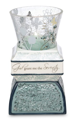 Up Words by Pavilion Teal Tea Light Candle Holder, Serenity Sentiment, 5-1/2-Inch Tall, Includes Tea Light Candle