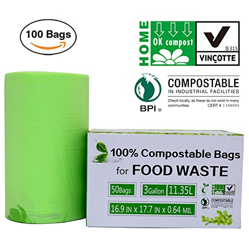 SunshineBio 100% Compostable Bags, 3 Gallon Extra Thick Biodegradable Compost Bags Kitchen Trash Bags, Food Scraps Yard Waste Bags, Certified By US BPI And Europ VINCETTE, - Plastic Eco Bags