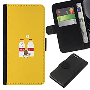 Apple iPhone 5C - Dibujo PU billetera de cuero Funda Case Caso de la piel de la bolsa protectora Para (Milk & Chocolate Milk Baby - Funny)