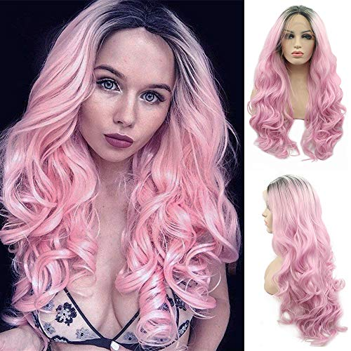 Lace Front Wigs Ombre Pink With Dark Roots Black #1B Glueless Long Natural Wavy Middle Part High Temperature Heat Resistant Synthetic Lace Wig for Women Half Hand Tied Full Hair ()