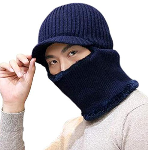 Lanzom Winter Warm Knitted Balaclava Beanie Hat Windproof Ski Face Mask Hats (Visor Hat-Navy Blue, One Size)