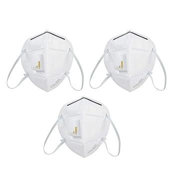 3 Unids Respirador Antipolvo Plegable Anti PM2.5, Máscara de Protección de Oído Exhalador de Válvula, Mascarilla con Forro para Pintura, Polvo, Soldadura: ...