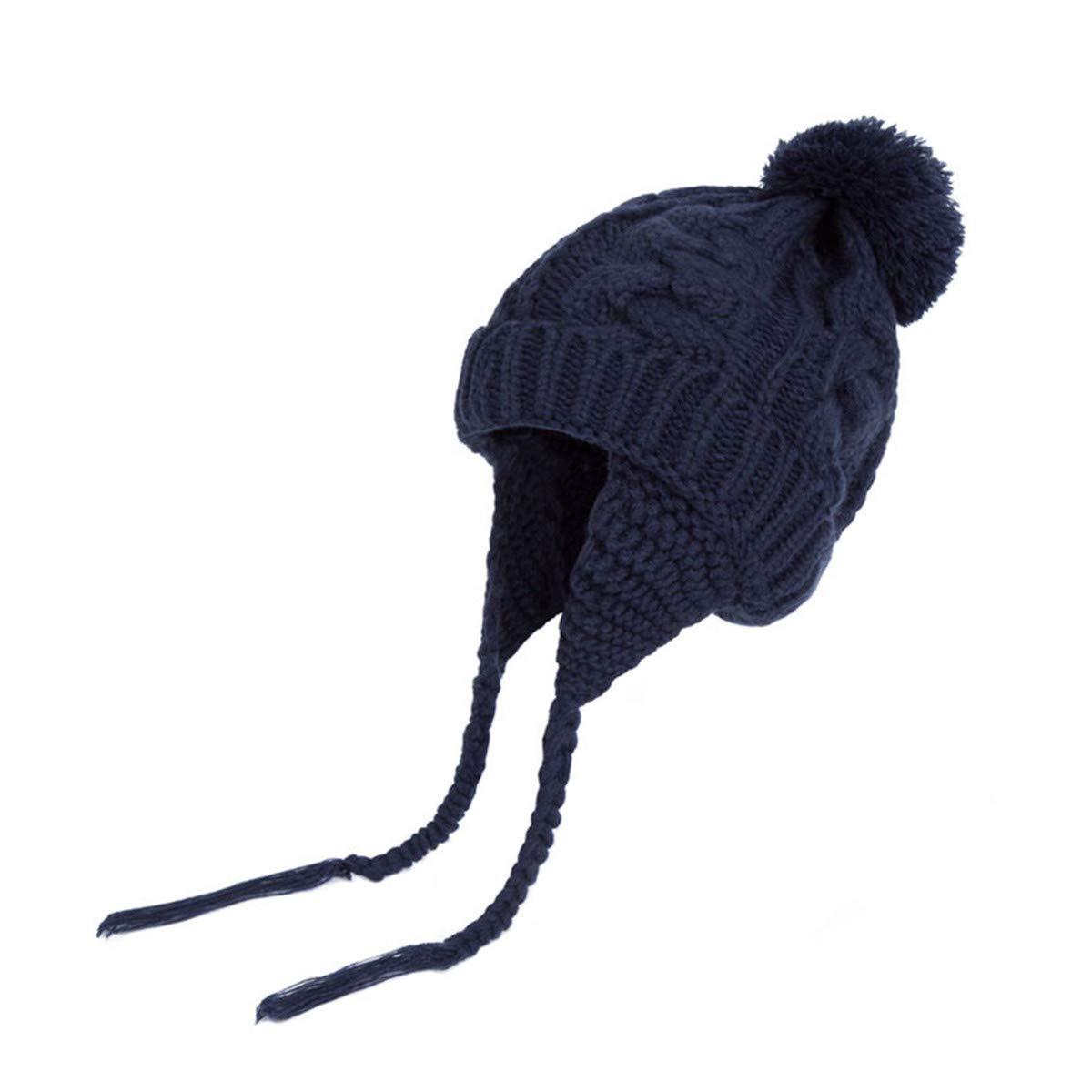 LKXHarleya Girls Knitted Earflaps Hat Winter Warm Baby Pom Pom Beanie Infant Cap