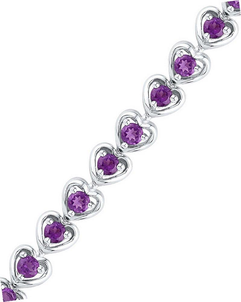 Sterling Silver Round Lab-Created Amethyst Tennis Fashion Bracelet 3-5/8 Ctw