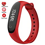 feifuns Fitness Tracker,Smart Watch with Blood Pressure Heart Rate Sleep Pedometer Camera remote Shoot Blood Oxygen Monitor Smart Wristband Bracelet READ for Bluetooth Andriod and ios (Red)