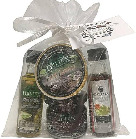 Detalle combinado con Aceite de Oliva, vinagre de Jerez D.O, mermelada de cereza y monodosis de paté ibérico para regalar (Pack 24 ud)