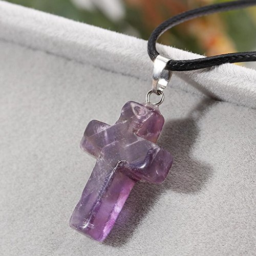 (Purple Gemstone Cross Pendant Natural Quartz Crystal Stone Chakra Healing Necklace Gift)