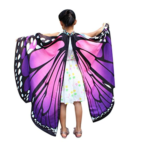 Purple Satin Butterfly Wings For Kids (Halloween Christmas Costume, METFIT Kid Baby Girl Butterfly Wings Shawl Fairy Pixie Accessory (Purple))
