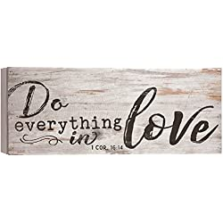 Do Everything In Love White Wash 17 x 7 Inch Solid Pine Wood Boxed Pallet Wall Plaque Sign
