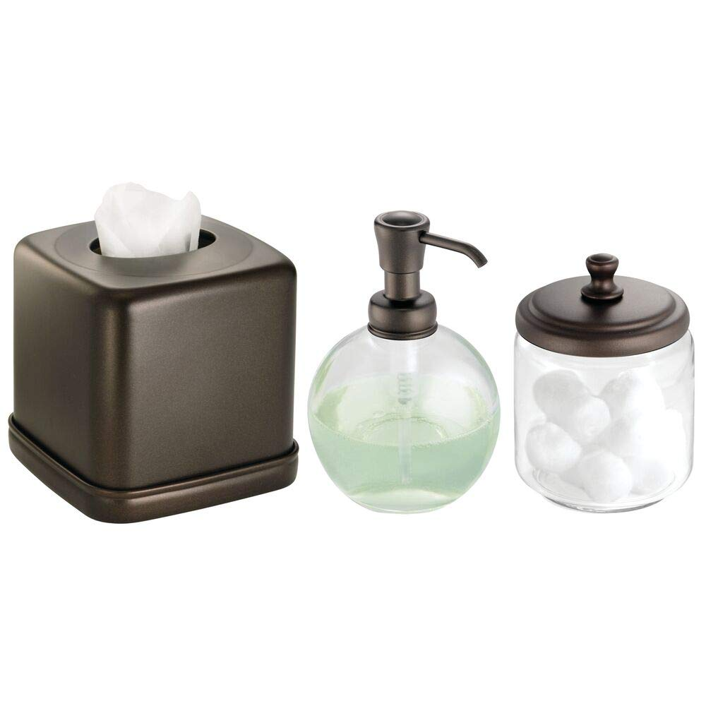mDesign Soap Dispenser Pump, Facial Tissue Box/Cover/Holder, Canister Jar for Cotton Balls, Swabs, Cosmetic Pads - Set of 3, Bronze/Clear