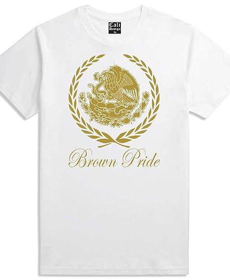 dd7781829 CaliDesign Men's White Gold Brown Pride T Shirt Mexican Chicano Mexico Cholo,  M - Medium