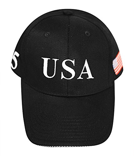 (FITTED Trump Black hat, Flex Fit, 45, USA - 2 HAT BUNDLE (S/M))