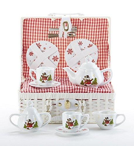 Porcelain Tea Set Basket (Porcelain Tea Set/Basket, Snowman)