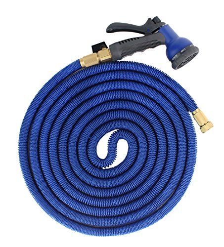 FOCUSAIRY 50ft Heavy Duty Expandable Garden Water Expanding Hose with Shut Off Valve Solid Metal Connector and 8-pattern Spray (Extending Spray)