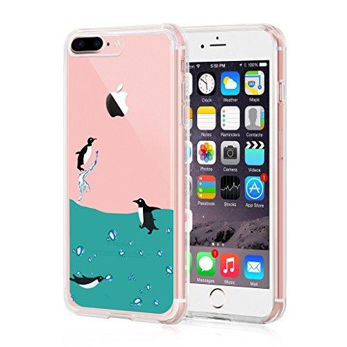 iPhone 7 Plus Custodia Cover, WenJie Adorabile pinguino Silicone Sottile Back Case Molle di TPU Trasparente per Apple iPhone 7 Plus 5.5