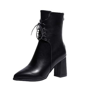 31eaf64377838 Longra Femmes Rétro Martin Bottes Mode Cuir Gland Chaussures Talon Haut Bout  Pointu Bottes Lacer Chaussures