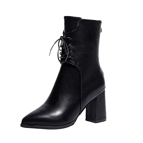 Zapatillas De Borce Retro para Mujer De OHQ Botas De Martin con Cordones En Punta De