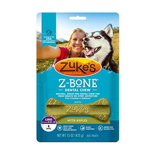 Zuke's Z-Bones Clean Apple Crisp Large Dental Chew Dog Treats - 6 ct. Pouch