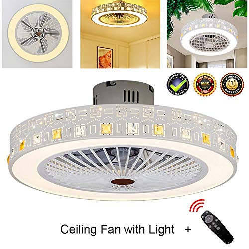 Decorative Ceiling Fan with Light LED, Remote Control Modern Blades Noiseless Reversible Motor Round Creative 3 Speeds 3 Color Dimmable Lamps Chandelier 22'' for - Ceiling Indoor Fans Iii