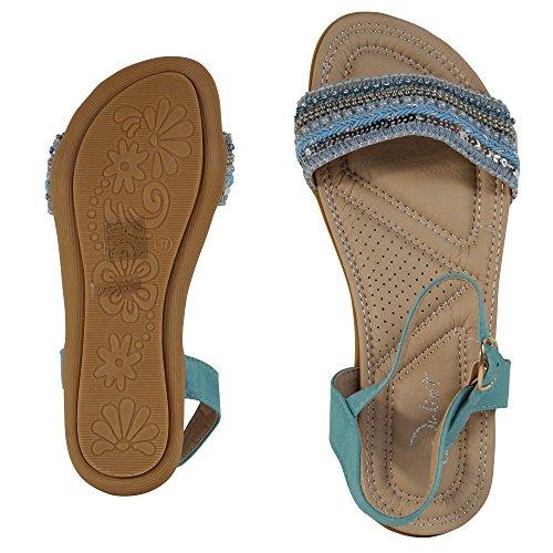 Damen Sandalen Sandaletten Glitzer Nieten Riemchen Römer ST108 Blau