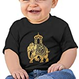 FHKSAFZ Unisex Decorative Indian Elephant Gold Baby Clothing Tops Fashion Kids Round Neck Cotton Baby Toddler T Shirt Tops