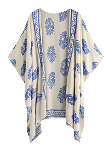 SweatyRocks Women Kimono Vintage Floral Beach Cover Up (Large, Blue)
