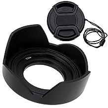 Fotodiox Lens Hood Kit for Sony E PZ 16-50mm F3.5-5.6 OSS E-Mount Power Zoom Lens, Tulip Flower Hood with Cap For Sony Kit Lenses