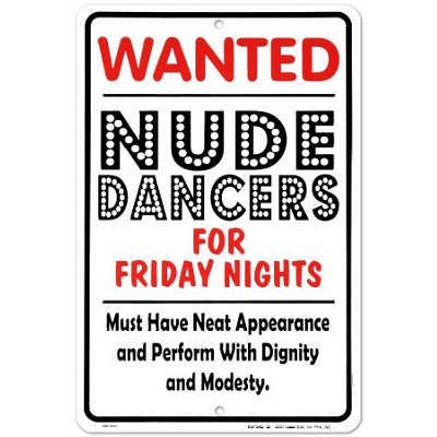 Nude Dancers Tin Sign