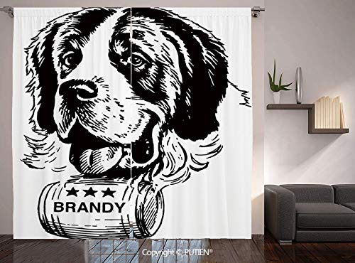 Thermal Insulated Blackout Window Curtain [ Man Cave Decor,Sketch of Saint Bernard Rolling a Keg of Brandy Whiskey Stars Retro Decorative,Black and White ] for Living Room Bedroom Dorm Room Classroom