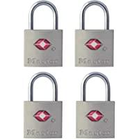 Master Lock 4683QAU TSA Keyed Padlock, 4 Pack, 22mm Wide Bodies, Silver