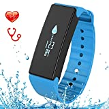 Fitness Tracker, FUNBOT Smart Bracelet IP67 Waterproof Heart Rate Blood Pressure & Blood Oxygen Monitor and Sleep Monitor Pedometer Calorie Counter Fitness Wristband for Android and iOS (Blue)