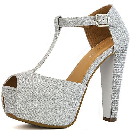 Buckle Closure T-strap Pumps (DailyShoes Women's Peep Toe Platform Sandal Pumps Open Toe Ankle Buckle T-Strap Extreme Evening Party Dress Casual Shoes, Silver Gl, 9.5 B(M) US)