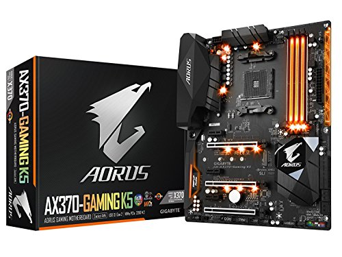 GIGABYTE AORUS GA-AX370-Gaming K5 AMD Ryzen AM4 X370 RGB FUSION SMART FAN 5 HDMI M.2 USB 3.1 Type-C ATX DDR4 Motherboard by Gigabyte
