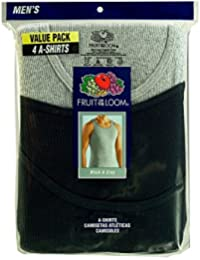 Fruit of the Loom Men's 4pk A-Shirts (Small, Black & Grey)
