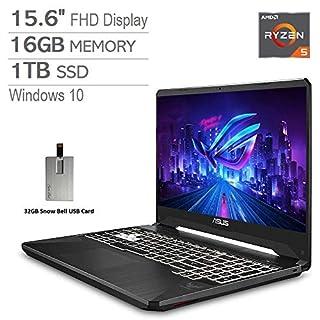 "2020 ASUS TUF 15.6"" FHD LCD Gaming Laptop Computer, AMD Ryzen 5-3550H, 16GB RAM, 1TB PCIe SSD, Backlit Keyboard, GeForce GTX 1650 Graphics, DTS Audio, Webcam, Win 10, Black, 32GB Snow Bell USB Card"