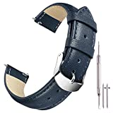 Ritche 18mm Genuine Leather Watch Bands Strap Replacement Seiko SNK805 SNK807 Timex Weekender Citizen BM8180-03E for Men Women