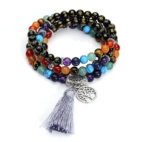 Top Plaza 7 Chakra Mala Prayer Beads 108 Meditation Healing Multilayer Bracelet/Necklace W/Tree of Life Tassel Charm(Six True Word Mala Beads-Black ()