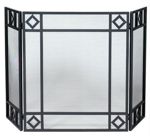 Uniflame 3 Fold Black Wrought Iron Screen - Black - Wrought Iron ()