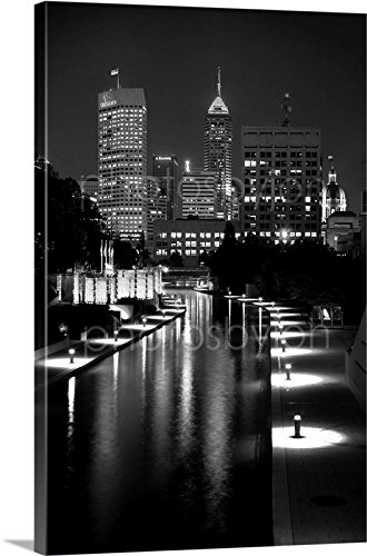 Canvas indianapolis indy skyline night large 30 inches x 45 inches bw black and white city