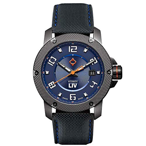 - LIV GX1-A Swiss Made Automatic Self Winding Analog Display Dress Watch for Men - 42 mm Stainless Steel with Date Calendar - 300 feet Waterproof - Limited Edition to 500 Pieces - Cobalt