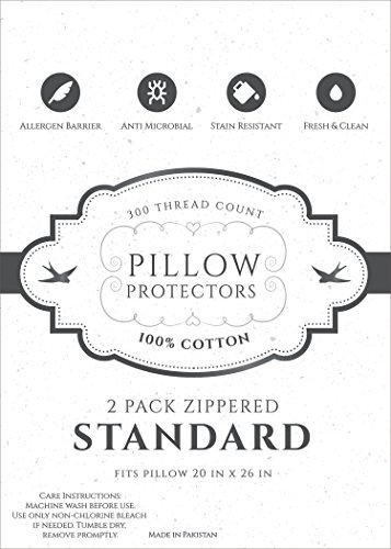 8 Pack Professional Grade Allergy Free Bed Bug Dust Mite repellent 100 Cotton Zippered Premium Pillow Protectors Pillow Covers Standard