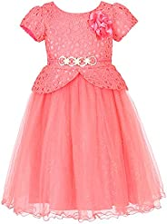 Richie House Girls' Princess Party Dress with Belt Size 3-8Y RH
