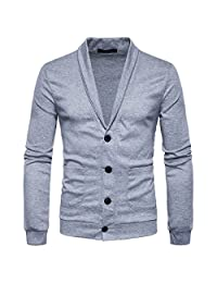 Cottory Men's Slim Fit Soft Shawl Collar 4Button Cardigan Sweater