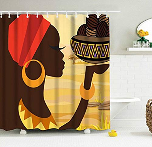 African Young Woman Shower Curtain, Brown Skin Long Eyelashes with Shining Gold Round Earrings Bracelet Lifting Food with Traditional Container in Vast Savanna Fabric Machine Washable Bath Curtain