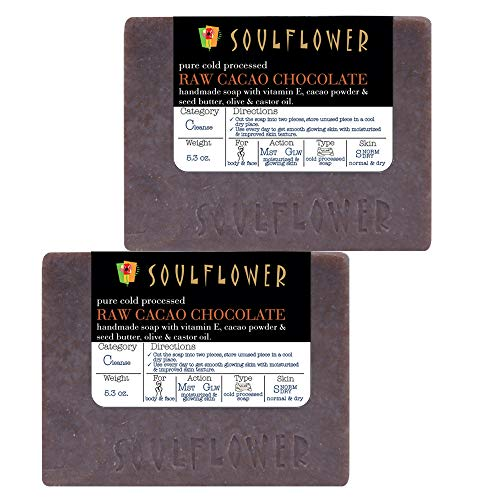 Raw Cacao Chocolate Handmade Soap by Soulflower, (5.3Oz x 2 Bars) 100% Natural,Organic, Vegan & Coldprocessed, USFDA approved, SLS Free, Moisturizes Skin, Indian Formulation